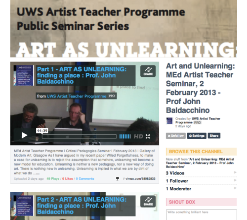 Art as Unlearning - Critical Pedagogy Public Seminar